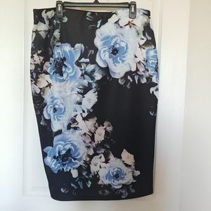 Black with blue floral pattern pencil skirt